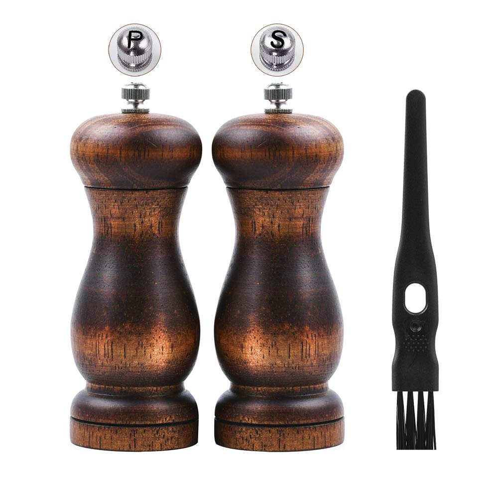 Salt and Pepper Grinder Set, Manual Pepper Mill Wood with Ceramic Grinding Core, Adjustable Coarse and Fine Suitable for Picnic, Dinner, Parties, Restaurant, BBQ and Hotel-(5.5inch x 2)