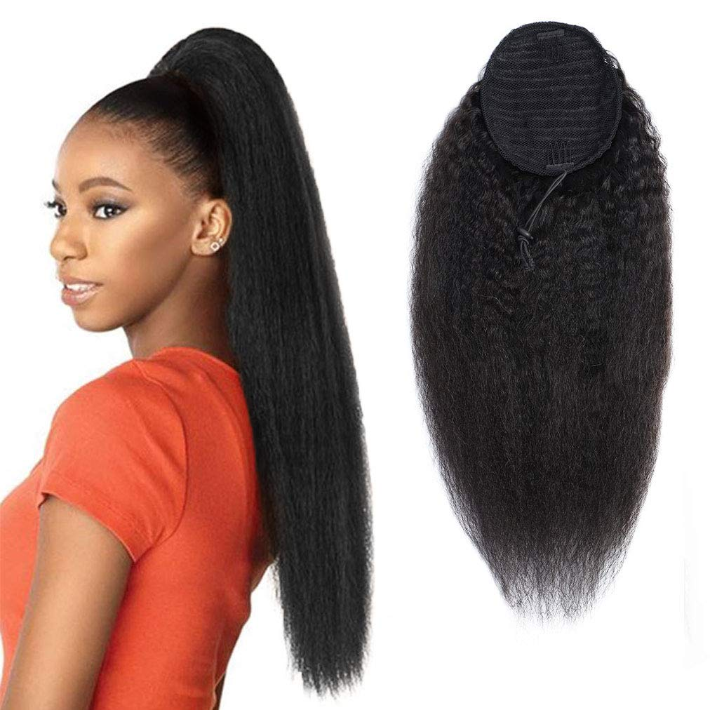 Kinky Straight Drawstring Ponytail Brazilian Virgin Hair Extension No Synthetic Kinky Straight Human Hair Ponytails Afro Yaki Hair for Black Women Ponytail 14 Inches by Ladyrite