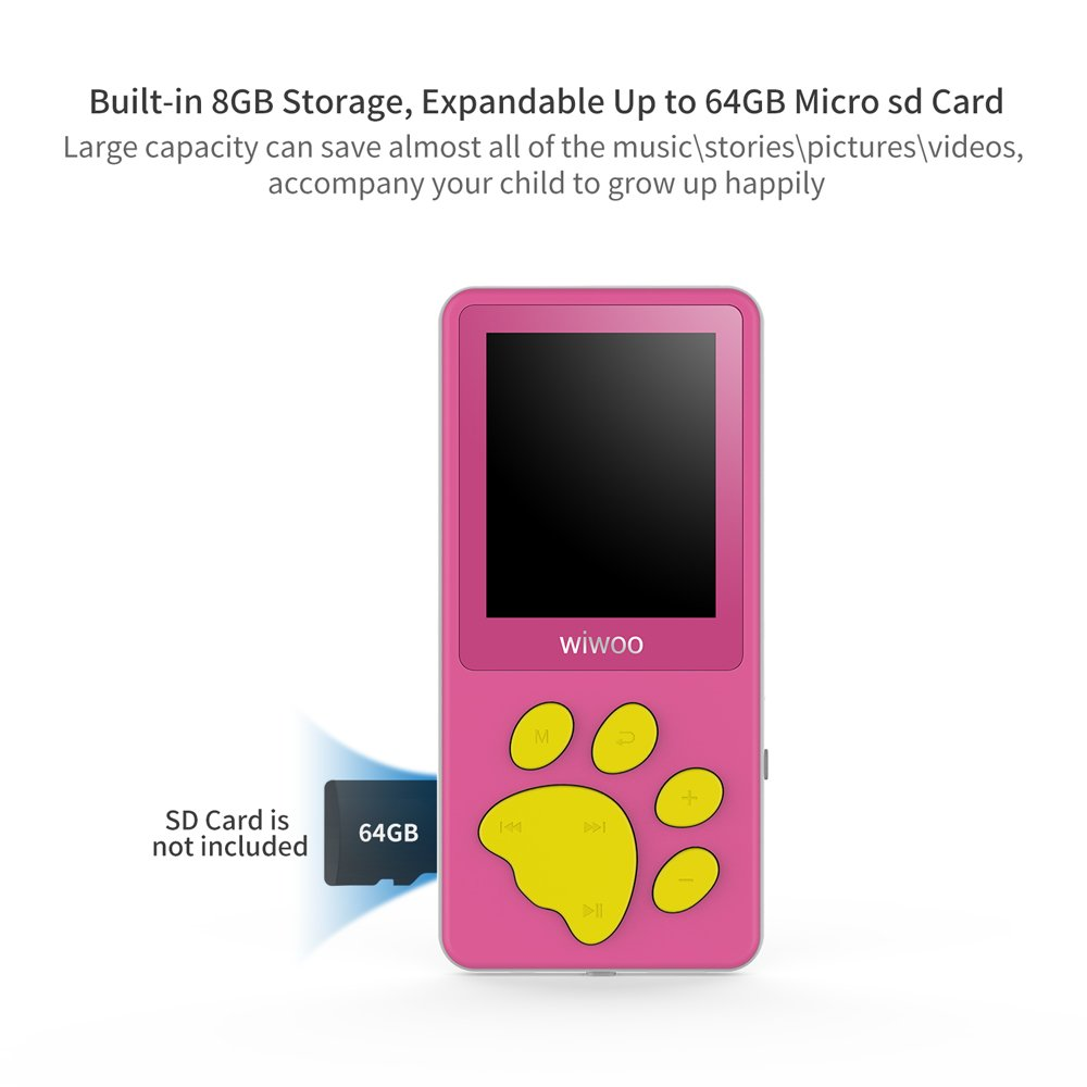 Wiwoo B4 8gb Portable Cute Cartoon Mp3 Player For Kids With Fun Game Small Fm Radio Girls