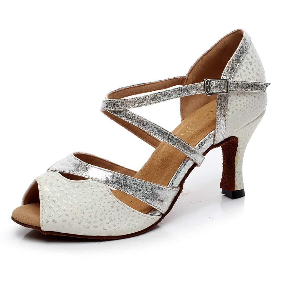 XIAOY Femme Chaussure de Danse Latine Intérieur Milieu Haute Talon Sangle de Cheville Cuir PU Cross Sangle argent10cm 42UK7