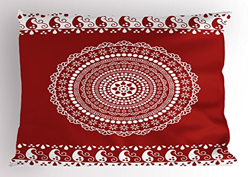 Ambesonne Red Mandala Pillow Sham, Traditional Ethnic Asian Paisley Design with Side Frame Borders Image, Decorative Standard Size Printed Pillowcase, 26 X 20 inches, Burgundy and White ()