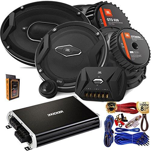 "Stereo Speakers Jbl Car ((2) JBL GTO 939 Premium 6x9"" Co-Axial Speaker + (2) GTO609C Premium 6.5"" Component Speaker System + Kicker 250 Watt Full Range 4 Channel Car Audio Amplifier + Amp Kit)"