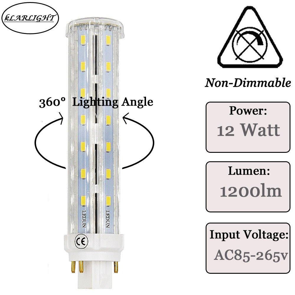 Klarlight LED GX24 Daylight Bulbs, 12 Watt GX24q 4 Pin Base 15mm G24q LED  Recessed Lighting, 360 Degree Angle Lighting G24 PL-C Lamp for CFL/Compact  ...