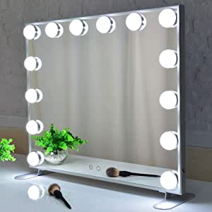 Hollywood Mirror Makeup Vanity Mirror with Lights,Large Dressing Illuminated Cosmetic Makeup Mirror with LED Bulbs.Aluminum Frame Lighted Beauty Mirror (Silver)