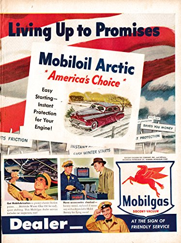 1948 Mobil Arctic Winter Oil- Race Winners - Americas Choice- Original 13.5 * 10.5 Magazine Ad - Mobil Oil Arctic
