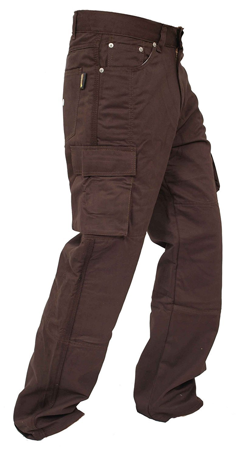 Newfacelook New Motorcycle Working Cargo Trousers Jeans Pants with Aramid Protective Lining D Brown