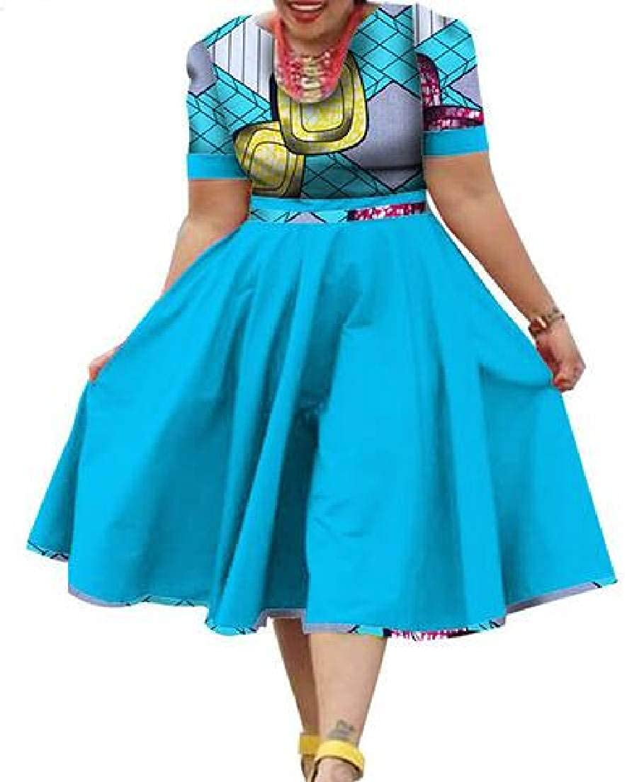 8 KLJR Women Round Neck African Printed Dashiki Short Sleeve ALine Midi Dress