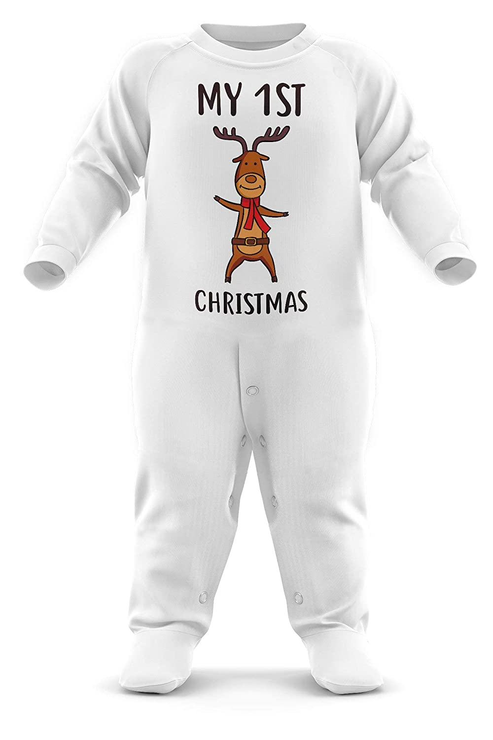 My First Xmas Babygrow Baby Christmas Outfit Cute First Xmas Gifts Christmas Pyjamas Babys First Christmas FunkyShirt My First Christmas Reindeer Baby Romper Suit