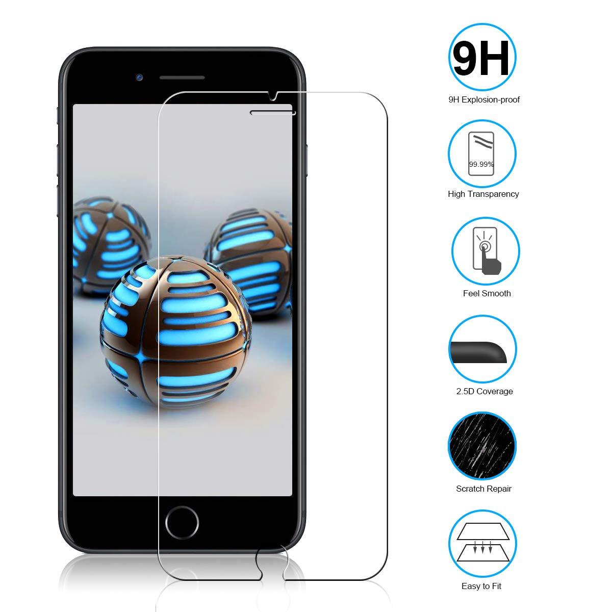 NONZERS [2 Pièces] Verre Trempé pour iPhone 7 Plus, iPhone 8 Plus [2 Pièces] 3D Bords Arrondis Film Protecteur d\'Écran en Verre Trempé 9H Dureté et 3D Touch Compatible sans Bulles