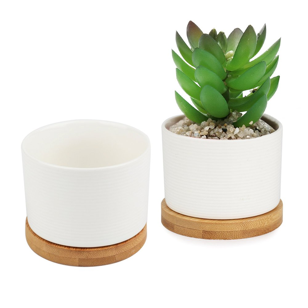 3 Inch White Ceramic Succulent Plant Pot with Bamboo Draining Tray, Pack of 2 by Corasays