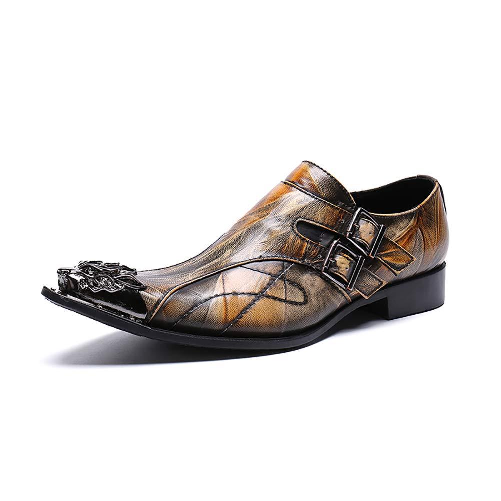 Männer Spitzen Mode Leder Schuhe Stylist Business Casual Schuhe Atmungsaktive Leder Metall Kopf Männer Schuhe,EU43