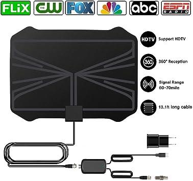 Antena de TV digital HD amplificada, rango de 60 a 70 millas de alta definición, antena de televisión digital ultrafina para interior