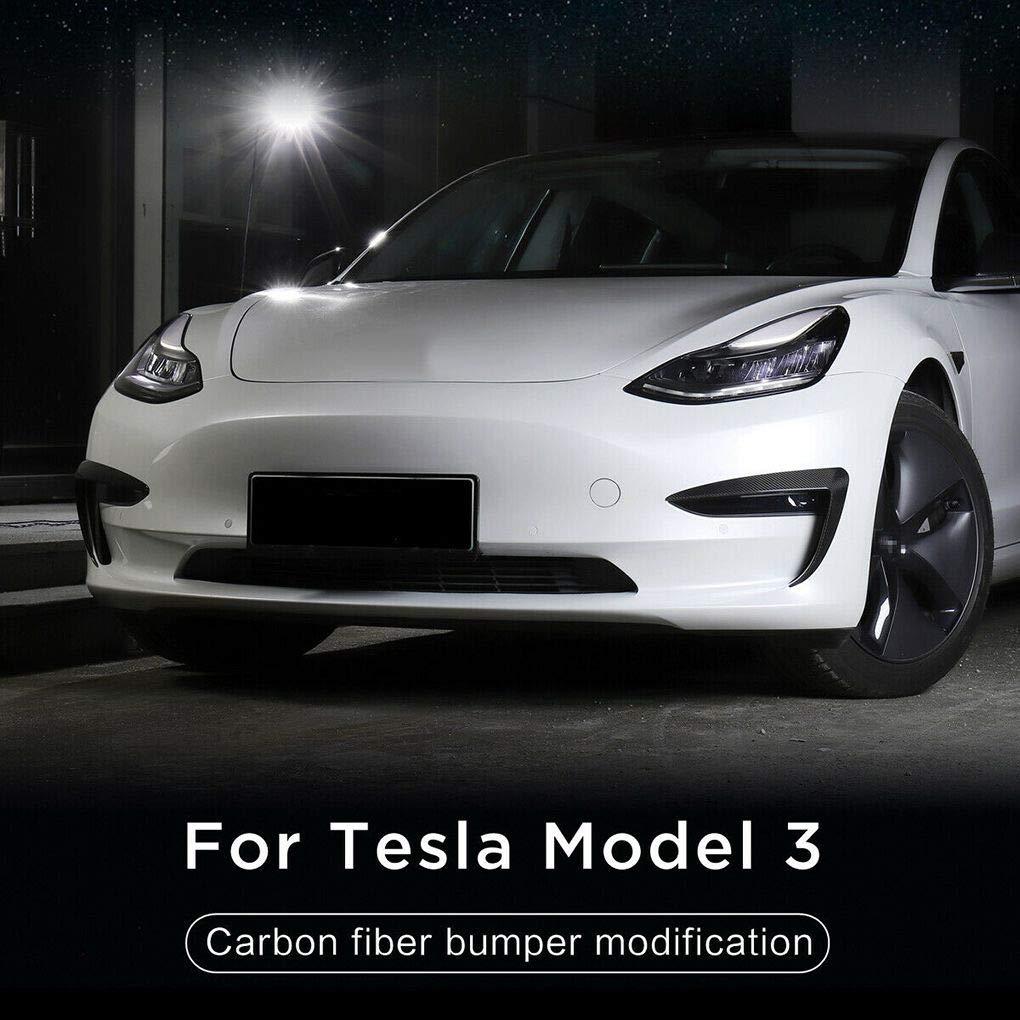 Chowcencen Ersatz f/ür Tesla Model 3 2pcs Set Sto/ßstangenverkleidung vorn Carbon-Faser-dekorative Abdeckung Fin