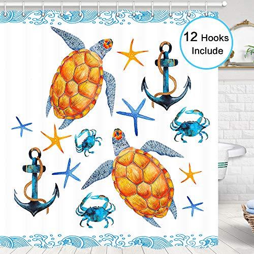 Sea Turtle Shower Curtain for Bathroom, Anchor Sealife Turtle Starfish Crabs Tropical Aquatic Kids Artwork Turtle Bathroom Accessories, Fabric Bathroom Shower Curtain Hooks Include, 72 X 72 Inches