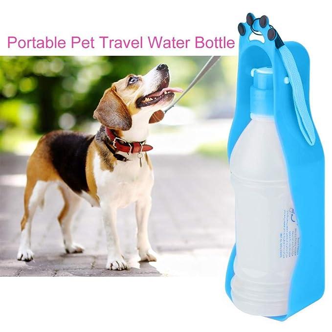 Botella de Agua portátil para Viaje de 350 ml Mascota Reversible Perros Gatos Dispensador de Agua Taza de Agua para Mascotas a Prueba de Fugas Bebida ...
