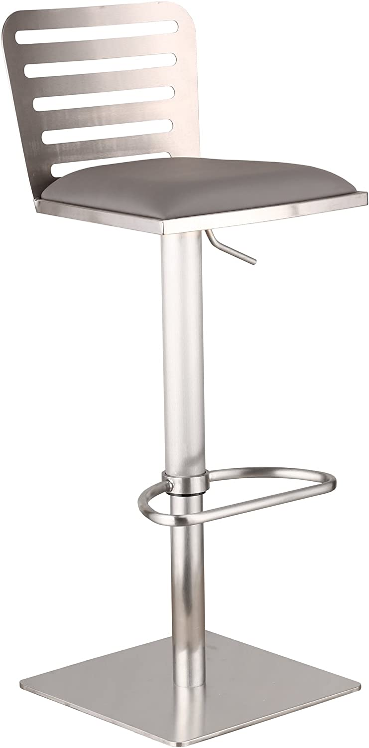 Armen Living LCDESWBAGRB201 Delmar Adjustable Barstool in Grey Faux Leather and Brushed Stainless Steel Finish