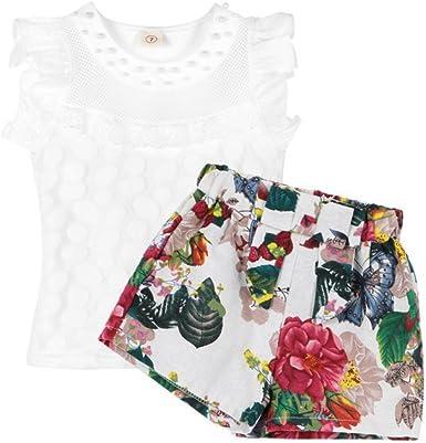 ESHOO Camisa Blanca de algodón Florales Cortos Tops Set para ...