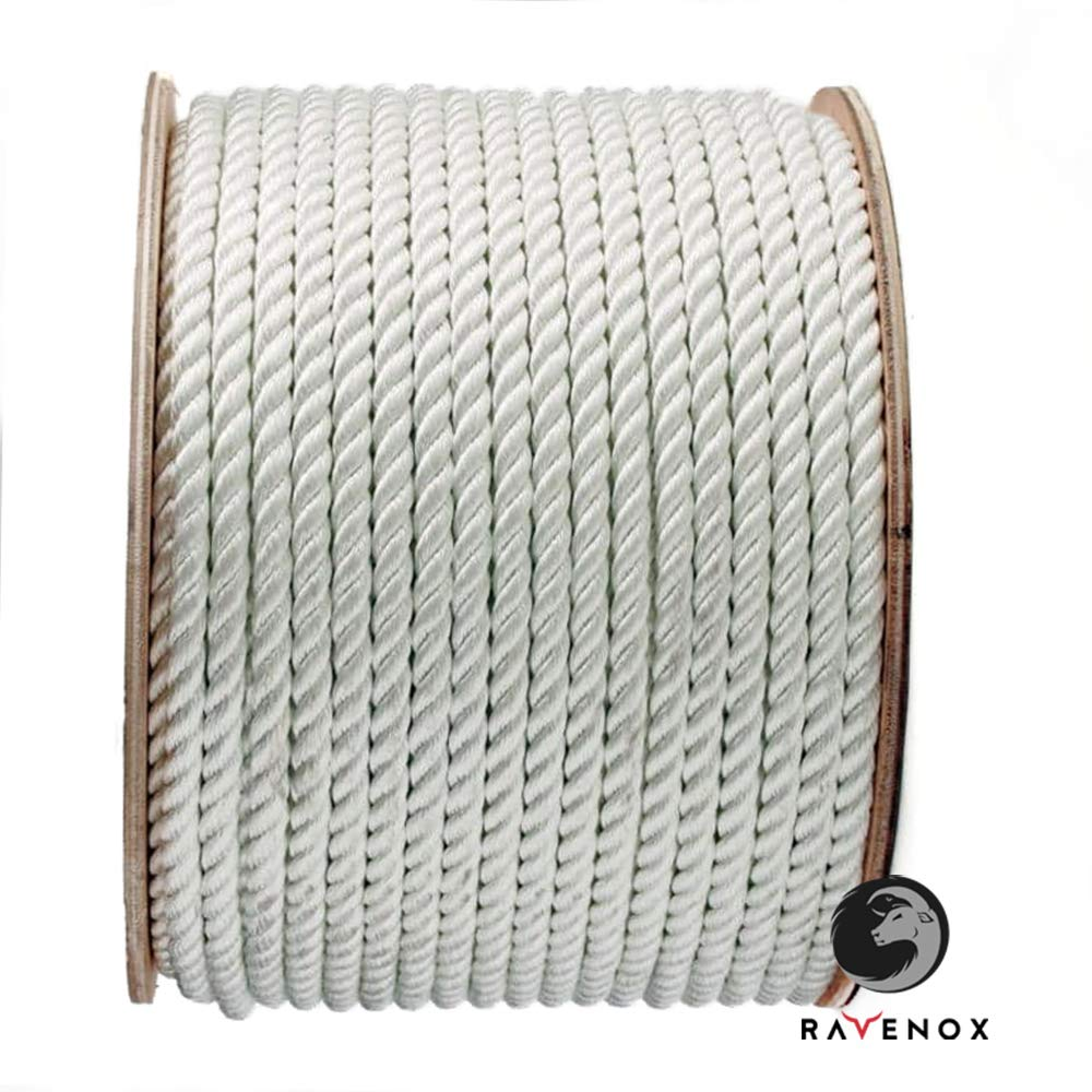 Ravenox ツイストポリエステルロープ | 商用グレード | すべてのリフティング、引き抜き、リギング、牽引、固定、タイダウンのニーズに | 足と直径により | 低伸縮性 & 耐薬品性 ホワイト (#12) 3/8 inch x 600 feet