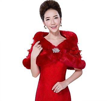 Jungen Mujer Bolero Warp chal para vestido de noche y vestido de novia rojo