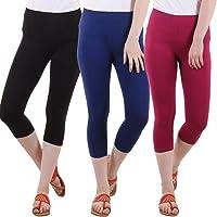 Diaz Capris for womens/Girls 3/4 leggings for women capri of women combo of 3