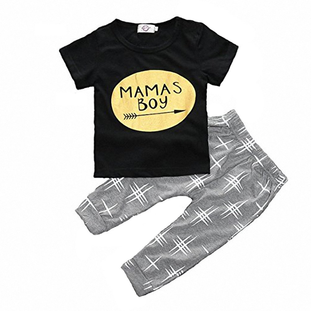 belababy Baby Outfit Fashion Gold Decal Summer Pure Cotton Toddler Pajamas Outfits SK-HY25