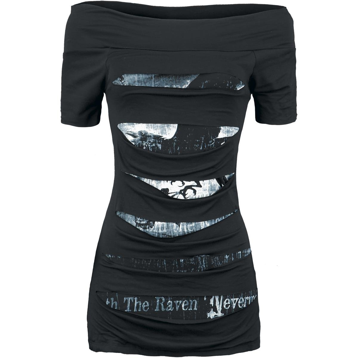 Women's Off The Shoulder Cut Out Skull Print T Shirt Tank Dress Bodycon Casual Tops (XL, Bat 002)