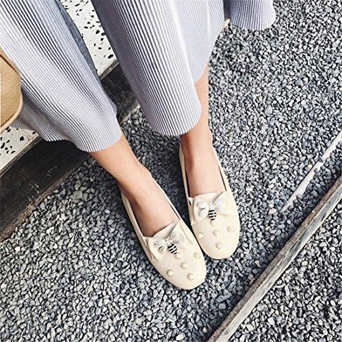 Bajos Zapatos Grandes Otoño Pajarita Zapatos Durante de Europa Beige con la Números de en Taladro de Estudiantes Primavera el y los Zapatos Unidos Tacón Estados Mujer de Agua rrqH1T6O