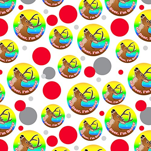 Oh Deer I'm Queer Rainbow Pride Gay Lesbian Funny Premium Gift Wrap Wrapping Paper Roll by Graphics and More