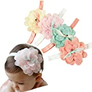 DANMY Baby Girl Super Stretchy Headband Big Lace Petals Flower Baby Hair Band Newborn Hair Accessories (4PCS Mixed color)