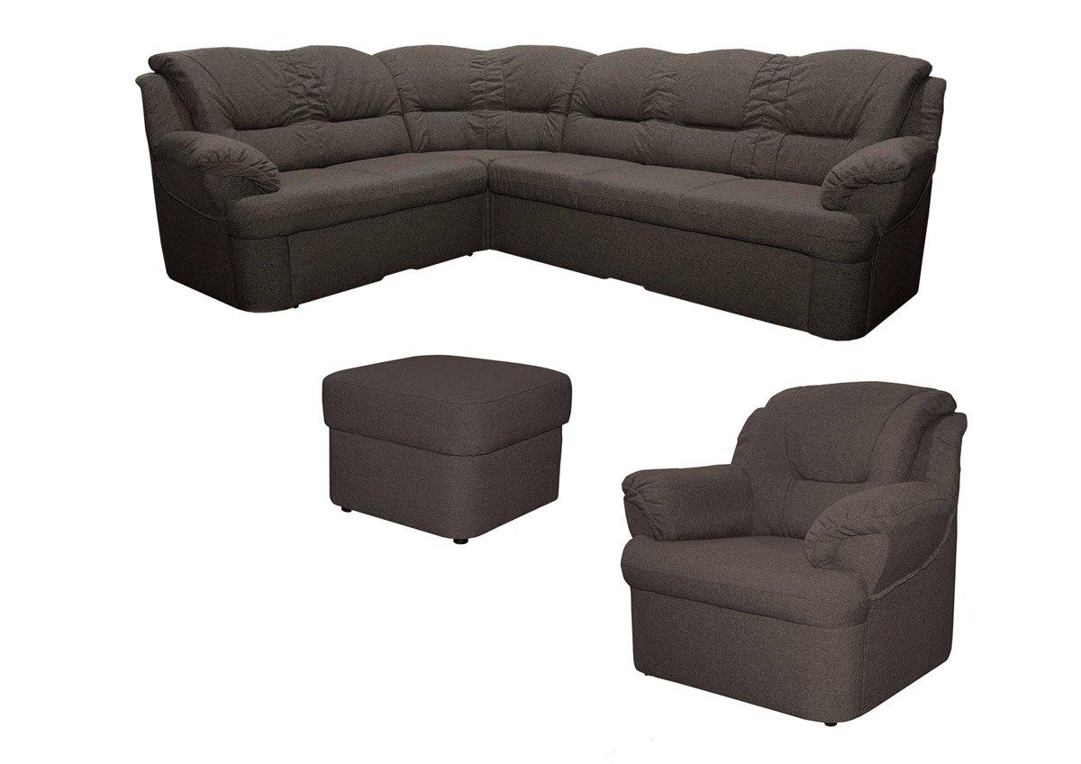 Wohnlandschaft-Set Dores mit Staukasten und Bettfunktion inkl. 1 Sessel und 1 Hocker