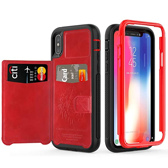 newest 3ae70 c430e iPhone Xs Case with Card Holders,SXTech (Leather Case Series) Slim Yet  Protective with Kickstand.Built-in Magnetic Backing and Shorkproof Cover  Fit ...