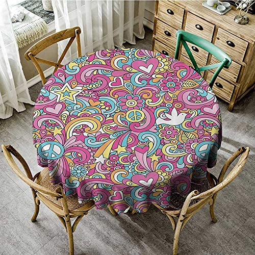 familytaste Indoor Tablecloth 1960s Decorations Collection,Psychedelic Groovy Peace Notebook Doodle Style Doves Education Swirly Starburst Image,Pink Blue D 54