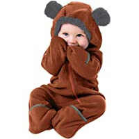 Clearance!!Toddler Infant Baby Girls Boys Cartoon Animals Romper Warm Hoodie Zipper Jumpsuit Party Costume Cosplay