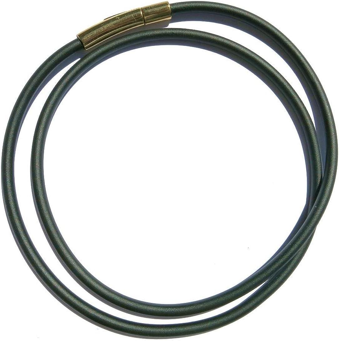 bande de 3 mm de diam/ètre avec boutons-pression en acier inoxydable dor/é kHG 300 diff/érents laengen ESM24 tour du cou en caoutchouc