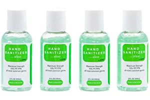 Hand Sanitizer Gel with Infused Aloe Vera Gel - 4 Pack of 2oz Travel Size - USA Made | 70% Ethyl Alcohol by Volume | Protect Against Germs | Meets W.H.O./CDC Standards