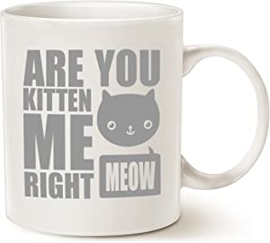 MAUAG Funny Cat Coffee Mugs, Fun Are You Kitten Me Right Meow Best Cat Lover Gifts Cute Cup, White 11 Oz