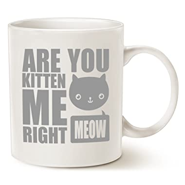 MAUAG Christmas Gifts Funny Cat Coffee Mugs - Fun Are You Kitten Me Right Meow - Best Cat Lover Gifts Cute Porcelain Cup, White 11 Oz