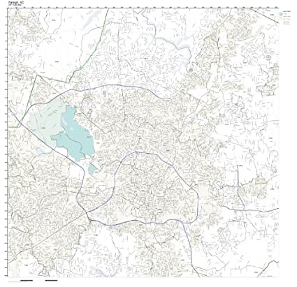 Amazon.com: ZIP Code Wall Map of Raleigh, NC ZIP Code Map ...