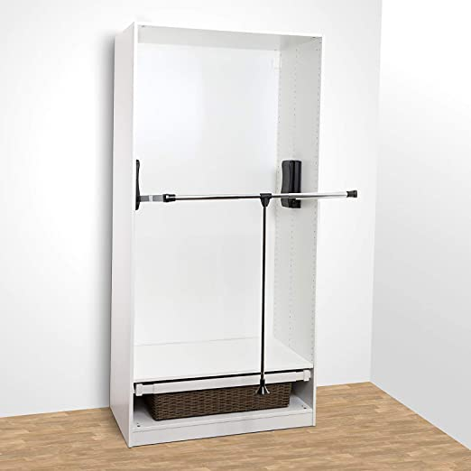 Sotech SO-Tech® Barra Colgador basculante Barra abatible para Armario Ancho Adaptable de 450-1150 mm Negro