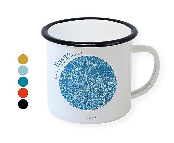 Emaille Tasse Retro Becher Essen Stadtplan In 5 Farben By 44spaces