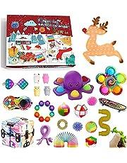 QASIMOF Fidget Adventskalender 2021 Kerstmis Countdown kalender 24 dagen goedkoop Pop Bubble Sensory Fidget Toys Set nieuwe decoraties