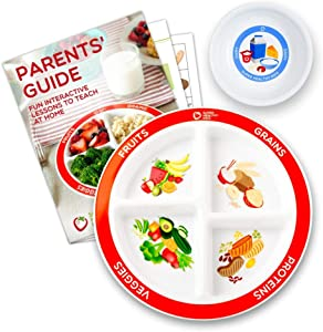 MyPlate Divided Kids Portion Plate Plus Dairy Bowl and Lesson Plan for Picky Eaters
