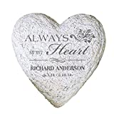 GiftsForYouNow Large Heart Personalized Memorial Garden Stone, 8.5'', Waterproof, Indoor/Outdoor, Resin
