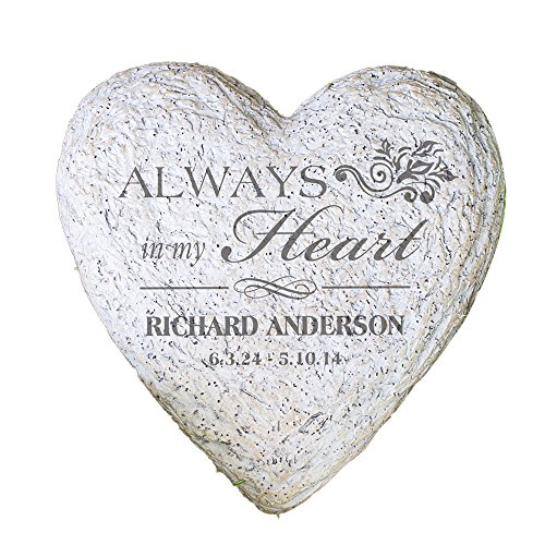 GiftsForYouNow Large Heart Personalized Memorial Garden Stone, 8.5