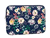 quilted laptop sleeve - Leaper Fashion Floral Laptop Sleeve 15 Inch 15 Case 15.6 Laptop Bag Notebook Sleeve Dark Blue