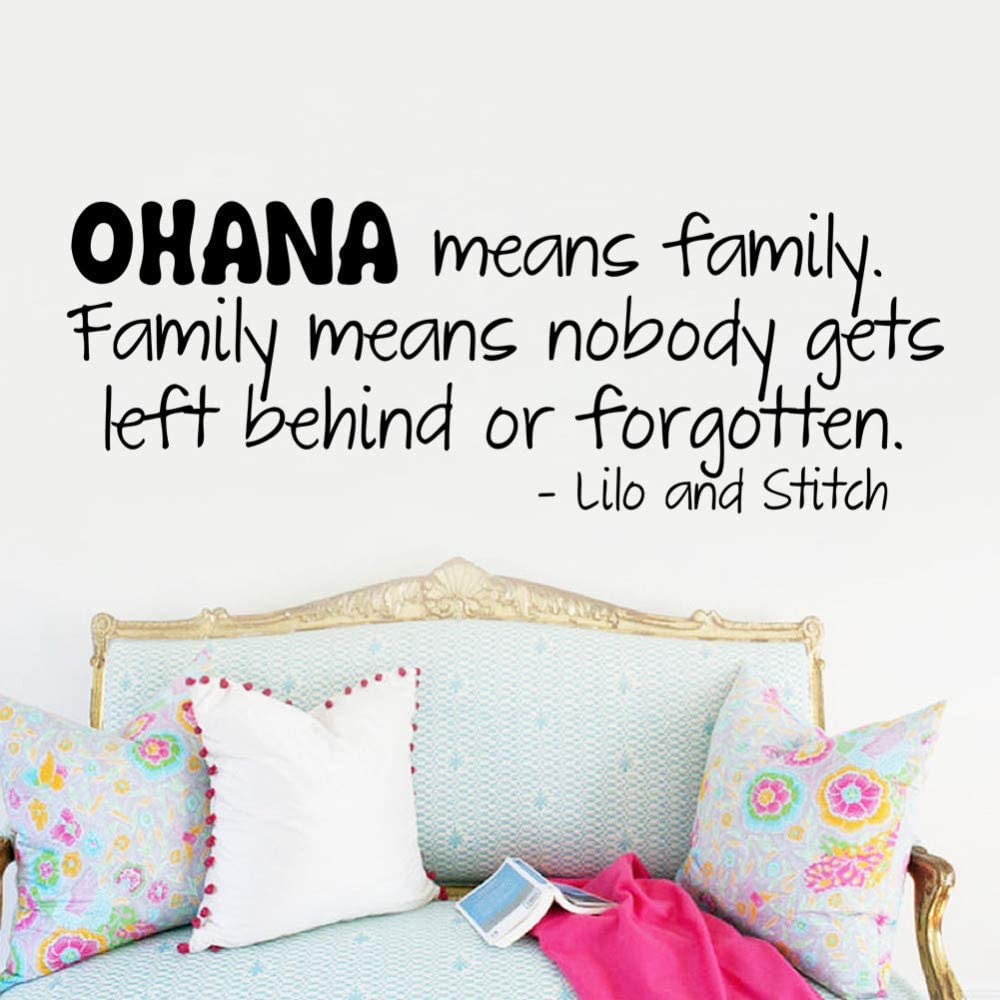 Ohana significa familia etiqueta de la pared cita letras palabras ...