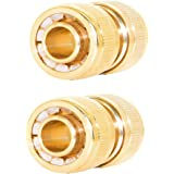 "Joywayus 1/2"" ID Hose Solid Brass Fitting Garden Tools Quick Repair Damaged Leaky Adapter Garden Water Irrigation Connector 2 Pack"