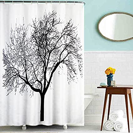 Lushomes Digital Dried Tree Design Polyester Blend 180 x 200 cms Shower Curtain with 12 Eyelets and 12 Hooks, Multicolur