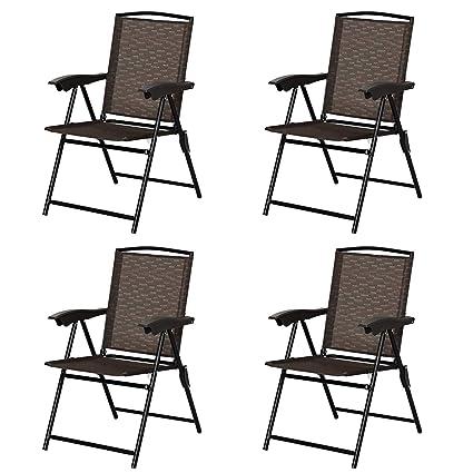 Amazon.com: Goplus - Juego de 4 sillas plegables para patio ...