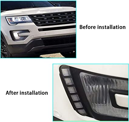 Super Bright LED Daytime Running Light Dual Color DRL for Ford Explorer 2016-2019 Replacement Front Bumper Fog Lamp Assembly Model B 1 pair Front L//R